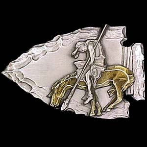 Belt Buckle - End of the Trail/Arrowhead - This finely sculpted and hand enameled belt buckle contains exceptional 3D detailing. Siskiyou's unique buckle designs often become collector's items and are unequaled with the best craftsmanship.