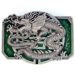 Belt Buckle - Oriental Dragon  - This finely sculpted and hand enameled belt buckle contains exceptional 3D detailing. Siskiyou's unique buckle designs often become collector's items and are unequaled with the best craftsmanship.