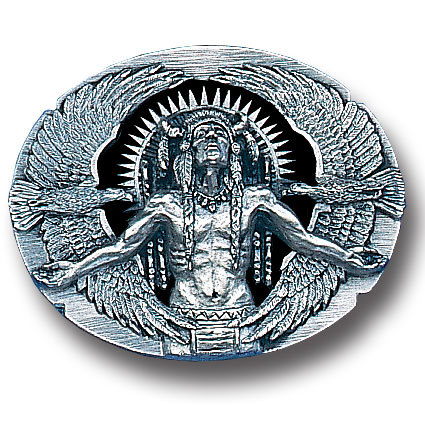 Belt Buckle - Indian Great Spirit (Diamond Cut ) - This finely sculpted belt buckle contains exceptional 3D detailing and diamond cut accents. Siskiyou's unique buckle designs often become collector's items and are unequaled with the best craftsmanship.