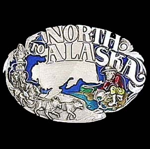 Belt Buckle - North to Alaska - This finely sculpted and hand enameled belt buckle contains exceptional 3D detailing. Siskiyou's unique buckle designs often become collector's items and are unequaled with the best craftsmanship.