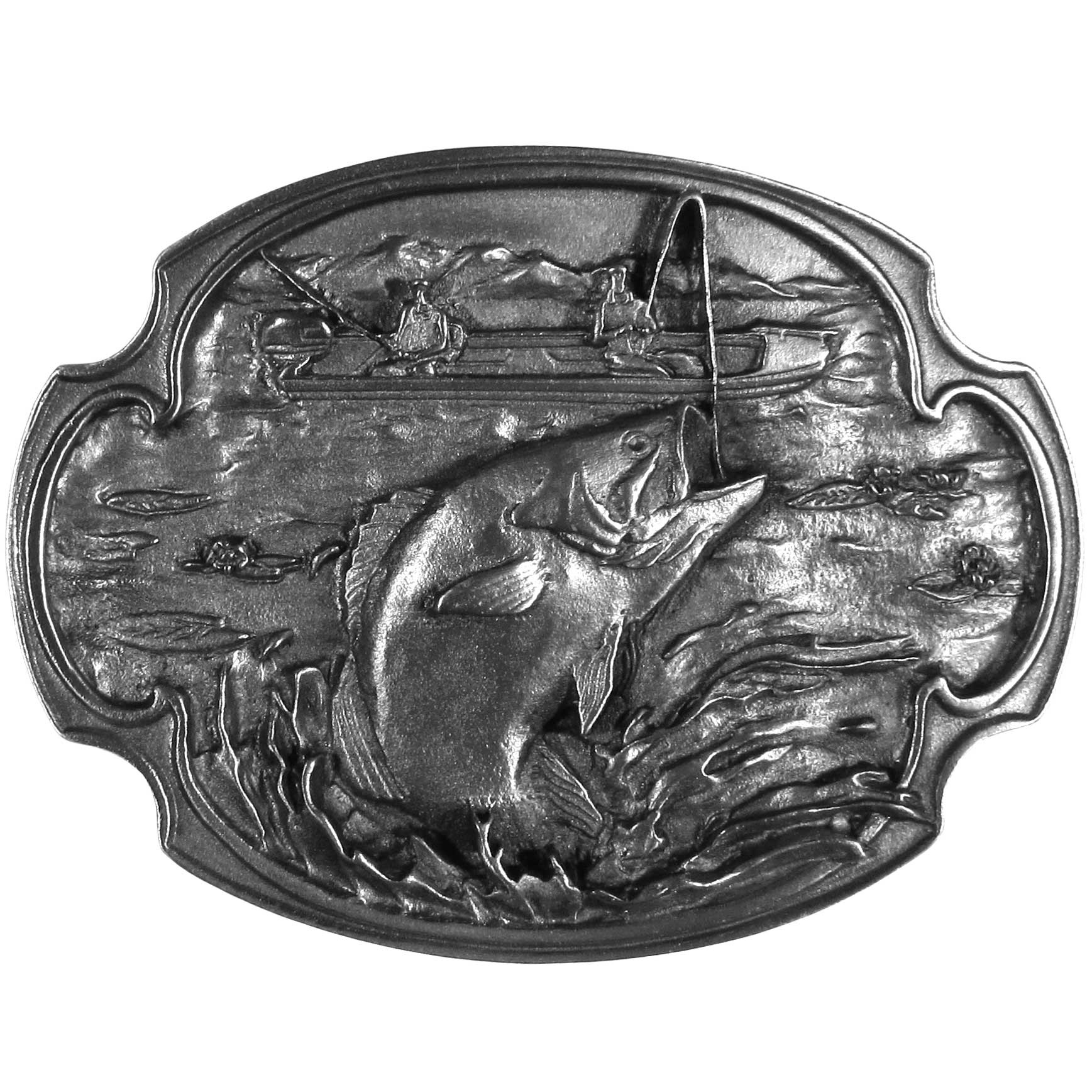 "Bass Fishing Antiqued Belt Buckle - ""This belt buckle features two fishermen in a boat, one is catching a bass in a lake with lilypads.  On the back are the words, """"Bass fishing is a sport that provides a great outdoor experience.  Bass fishing has thousands of loyal followers who have come to know the thrill of catching the great sporting fish.""""  Fully cast metal belt buckle with exceptional detail. The buckle features a hooked bass and fits belts up to 2 inches."""