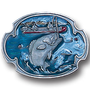 Belt Buckle - Bass Fishing  - This finely sculpted and hand enameled belt buckle contains exceptional 3D detailing. Siskiyou's unique buckle designs often become collector's items and are unequaled with the best craftsmanship.
