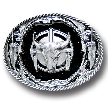 Belt Buckle - Buffalo Skull/Feathers  - This finely sculpted belt buckle contains exceptional 3D detailing and diamond cut accents. Siskiyou's unique buckle designs often become collector's items and are unequaled with the best craftsmanship.