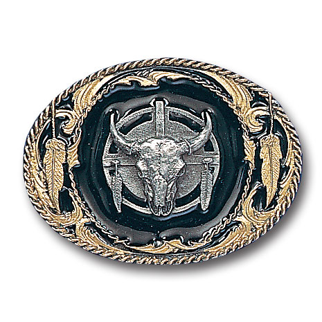 Belt Buckle - Buffalo Skull/Feathers  - This finely sculpted belt buckle contains exceptional 3D detailing and is finished with gold vivatone. Siskiyou's unique buckle designs often become collector's items and are unequaled with the best craftsmanship.