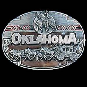 Belt Buckle - Oklahoma - This finely sculpted and hand enameled belt buckle contains exceptional 3D detailing. Siskiyou's unique buckle designs often become collector's items and are unequaled with the best craftsmanship.