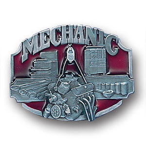 Belt Buckle - Mechanic 3D - This finely sculpted and hand enameled belt buckle contains exceptional 3D detailing. Siskiyou's unique buckle designs often become collector's items and are unequaled with the best craftsmanship.