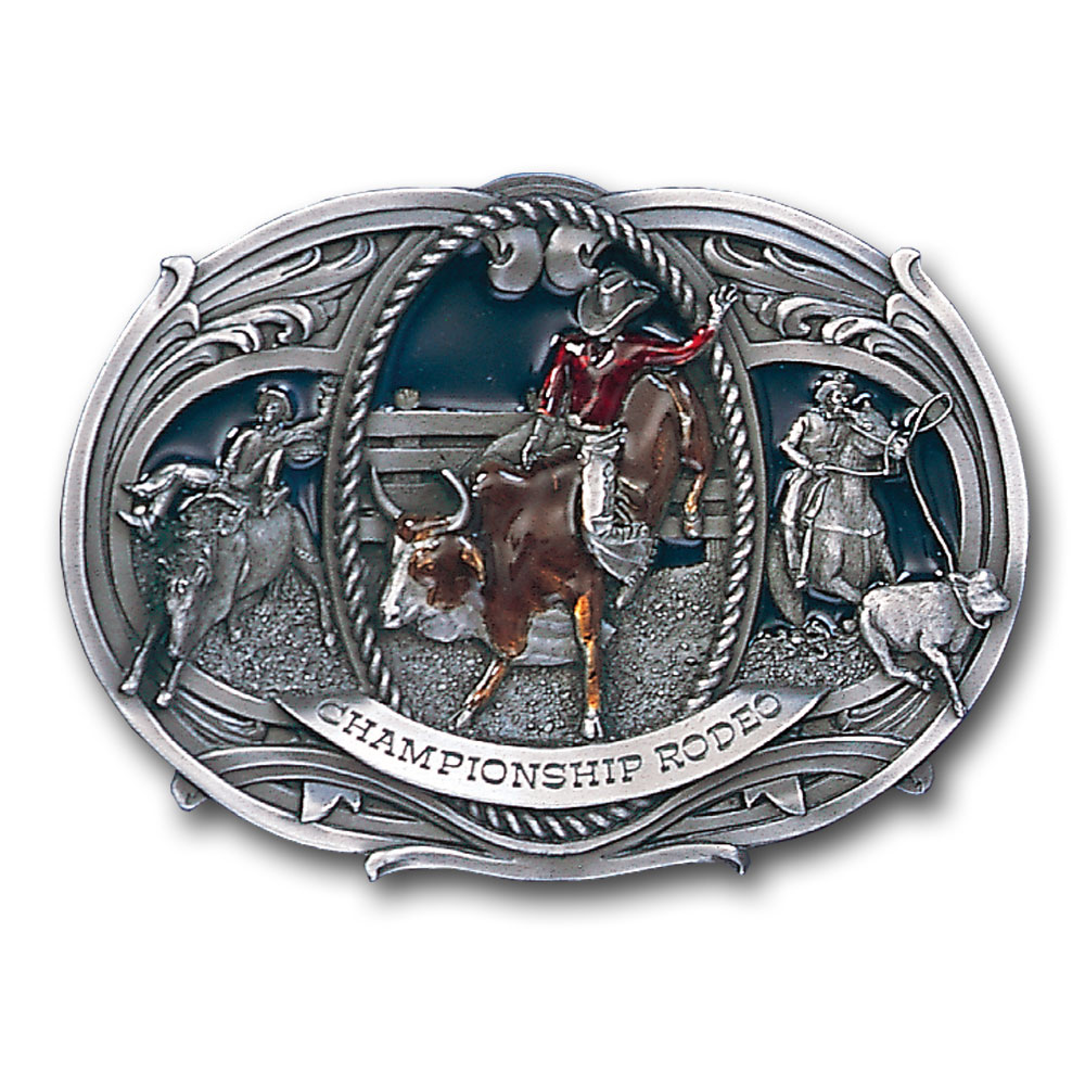 Belt Buckle - Championship Rodeo (small) - This finely sculpted and hand enameled belt buckle contains exceptional 3D detailing. Siskiyou's unique buckle designs often become collector's items and are unequaled with the best craftsmanship.