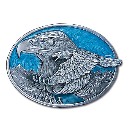 Belt Buckle - Double Eagle  - This finely sculpted and hand enameled belt buckle contains exceptional 3D detailing. Siskiyou's unique buckle designs often become collector's items and are unequaled with the best craftsmanship.