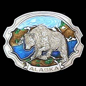 Belt Buckle - Alaska Grizzly - This finely sculpted and hand enameled belt buckle contains exceptional 3D detailing. Siskiyou's unique buckle designs often become collector's items and are unequaled with the best craftsmanship.