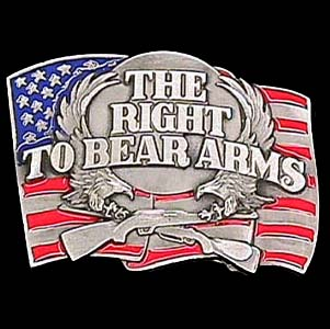 Belt Buckle - Right to Bear Arms  - This finely sculpted and hand enameled belt buckle contains exceptional 3D detailing. Siskiyou's unique buckle designs often become collector's items and are unequaled with the best craftsmanship.