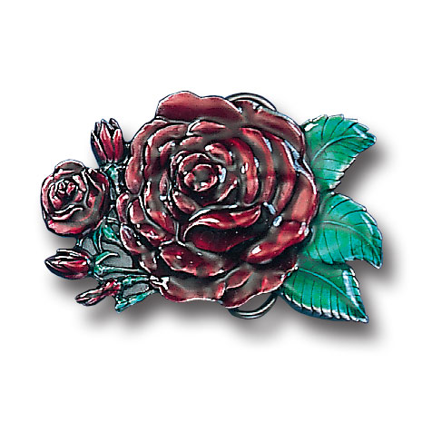 Belt Buckle - Rose (Free Form) - This finely sculpted and hand enameled belt buckle contains exceptional 3D detailing. Siskiyou's unique buckle designs often become collector's items and are unequaled with the best craftsmanship.