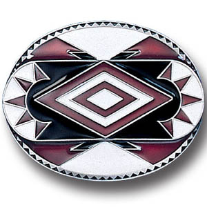 Belt Buckle - Southwest Design - This finely sculpted and hand enameled belt buckle contains exceptional 3D detailing. Siskiyou's unique buckle designs often become collector's items and are unequaled with the best craftsmanship.
