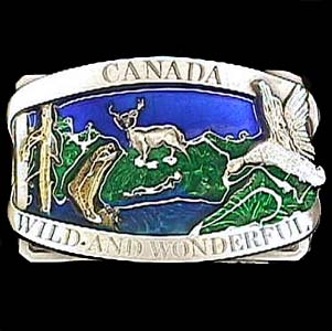 Belt Buckle - Canada Wild/Wonderful - This finely sculpted and hand enameled belt buckle contains exceptional 3D detailing. Siskiyou's unique buckle designs often become collector's items and are unequaled with the best craftsmanship.