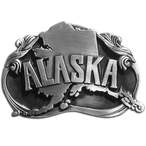Alaska State Buckle - Finely sculpted and intricately designed belt buckle. Our unique designs often become collector's items.