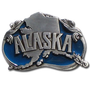 Belt Buckle - Alaska State - This finely sculpted and hand enameled belt buckle contains exceptional 3D detailing. Siskiyou's unique buckle designs often become collector's items and are unequaled with the best craftsmanship.