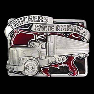 Belt Buckle - Truckers Move America - This finely sculpted and hand enameled belt buckle contains exceptional 3D detailing. Siskiyou's unique buckle designs often become collector's items and are unequaled with the best craftsmanship.