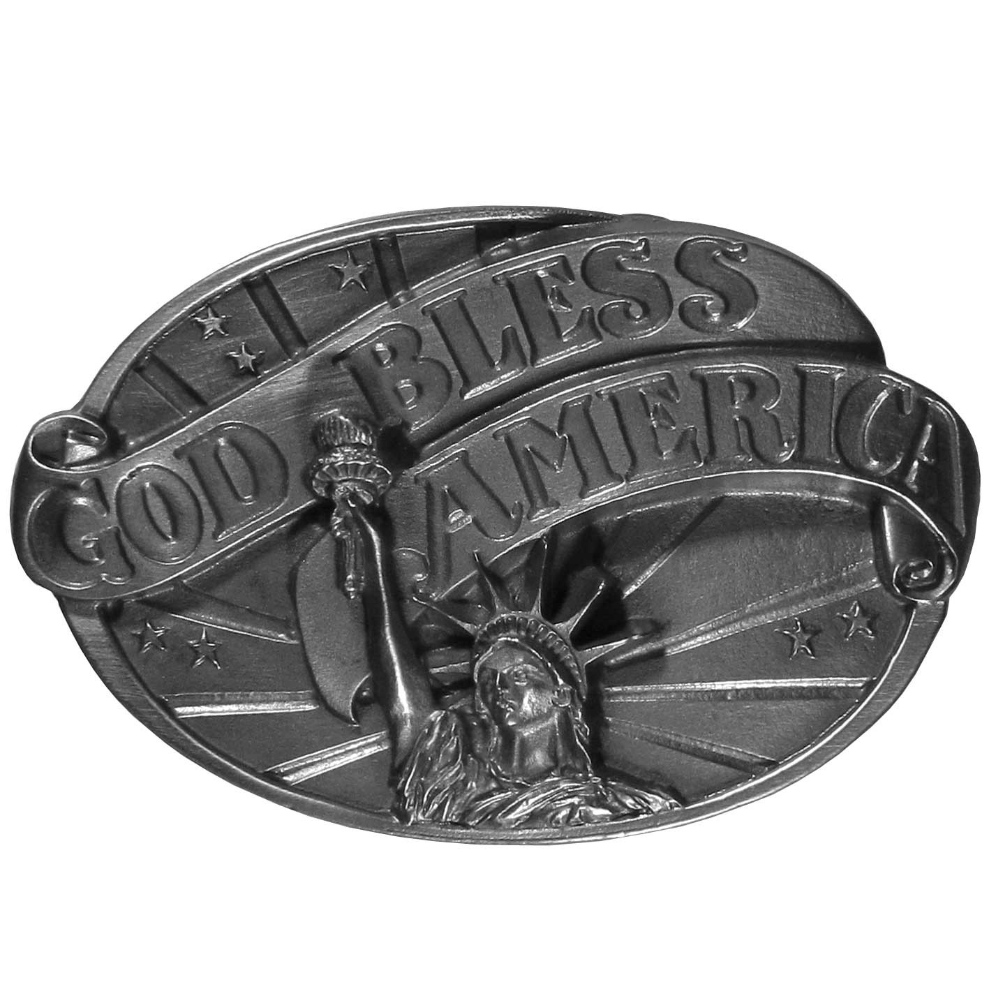 God Bless America Antiqued Belt Buckle - Fully cast metal belt buckle with exceptional detail. The buckle features the Statue of Liberty with a God Bless America ribbon and fits belts up to 2 inches.