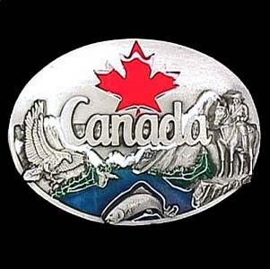 Belt Buckle - Canada Maple Leaf - This finely sculpted and hand enameled belt buckle contains exceptional 3D detailing. Siskiyou's unique buckle designs often become collector's items and are unequaled with the best craftsmanship.