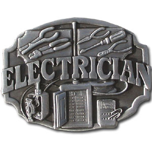 Electrician Antiqued Belt Buckle - This finely sculpted belt buckle contains exceptional 3D detailing. Siskiyou's unique buckle designs often become collector's items and are unequaled with the best craftsmanship.