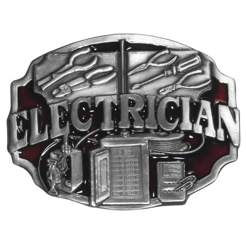 Belt Buckle - Electrician  - This finely sculpted and hand enameled belt buckle contains exceptional 3D detailing. Siskiyou's unique buckle designs often become collector's items and are unequaled with the best craftsmanship.