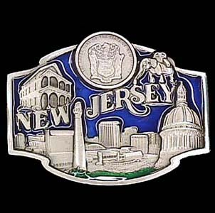 Belt Buckle - New Jersey  - This finely sculpted and hand enameled belt buckle contains exceptional 3D detailing. Siskiyou's unique buckle designs often become collector's items and are unequaled with the best craftsmanship.