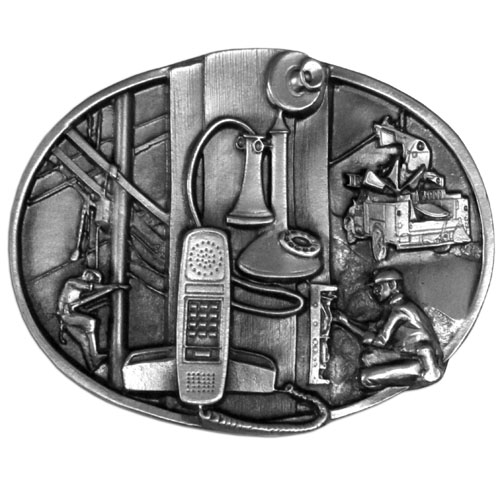 Telephone Worker Buckle - Finely sculpted and intricately designed belt buckle. Our unique designs often become collector's items.