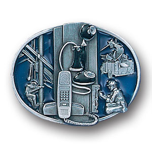 Belt Buckle - Telephone Worker  - This finely sculpted and hand enameled belt buckle contains exceptional 3D detailing. Siskiyou's unique buckle designs often become collector's items and are unequaled with the best craftsmanship.