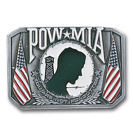 Belt Buckle - POW MIA - This finely sculpted and hand enameled belt buckle contains exceptional 3D detailing. Siskiyou's unique buckle designs often become collector's items and are unequaled with the best craftsmanship.