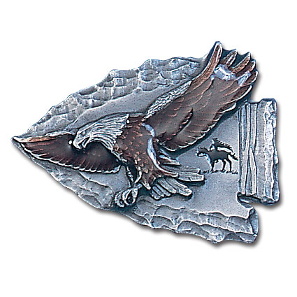 Belt Buckle - Eagle on Arrowhead - This finely sculpted and hand enameled belt buckle contains exceptional 3D detailing. Siskiyou's unique buckle designs often become collector's items and are unequaled with the best craftsmanship.