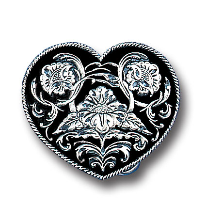 Belt Buckle - Western Heart (Diamond Cut) - This finely sculpted belt buckle contains exceptional 3D detailing and diamond cut accents. Siskiyou's unique buckle designs often become collector's items and are unequaled with the best craftsmanship.