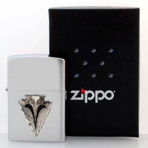 Native American Zippo Lighter - Arrowhead - Official Zippo lighter featuring a quality arrowhead emblem.