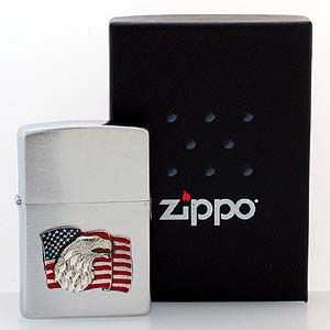 Patriotic Zippo Lighter- American Flag and Eagle - Official Zippo lighter featuring a quality American Flag emblem.
