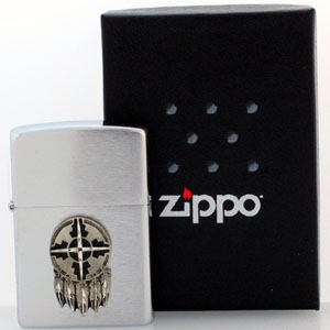 Native American Zippo Lighter - Indian Shield - Official Zippo lighter featuring a quality Indian shield emblem.