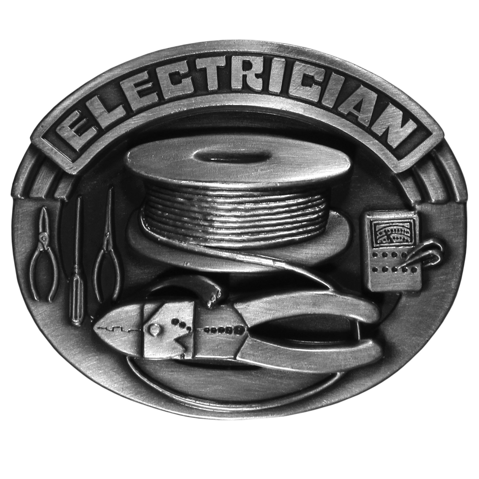 "Electrician Antiqued Belt Buckle - ""This belt buckle celebrates the electrician!  """"Electrician"""" is written in bold across the top with tools of the trade below.  On the back are the words, """"Proud to be an Electrician"""" on a spool of wire.  Our fully cast metal belt buckles have exceptional detail and fine craftmanship with an antiqued finish. Standard bale fits belts up to 2"""" in width."""