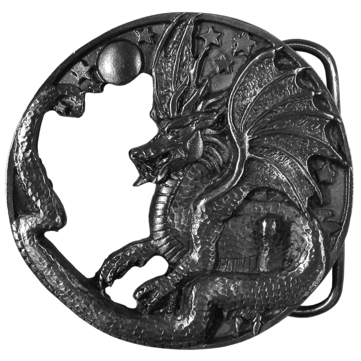"Dragon Antiqued Belt Buckle - ""This unique round belt buckle has a dragon with a crystal bar and stars on the top.  This exquisitely carved buckle is made of fully cast metal with a standard bale that fits up to 2"""" belts."""