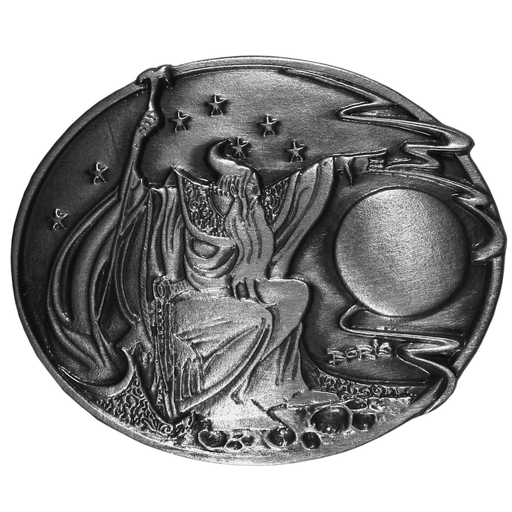 "Vallejo Wizard Antiqued Belt Buckle - ""This collector's item is a Boris Vallejo wizard belt buckle.  There is a wizard, stars and a full moon, as well as Boris' signature.  On the back are the words, """"Wizard, 1992, Boris Vallejo"""".  Finely sculpted and intricately designed belt buckle. Our unique designs often become collector's items."""