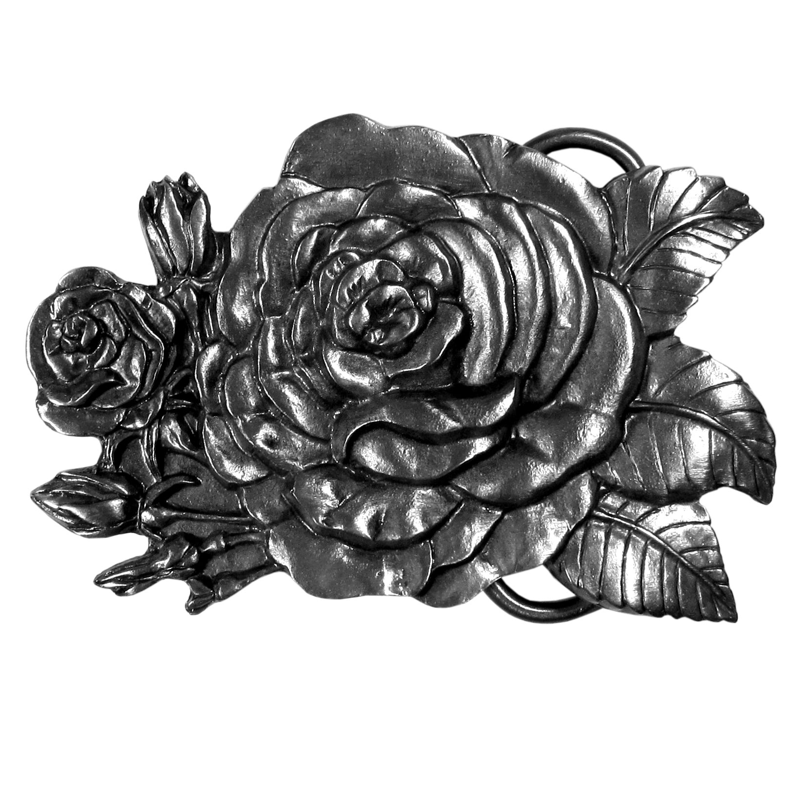 Rose Antiqued Belt Buckle - This beautiful buckle features a sculpted rose with rose buds and leaves surrounding it.  Finely sculpted and intricately designed belt buckle. Our unique designs often become collector's items.