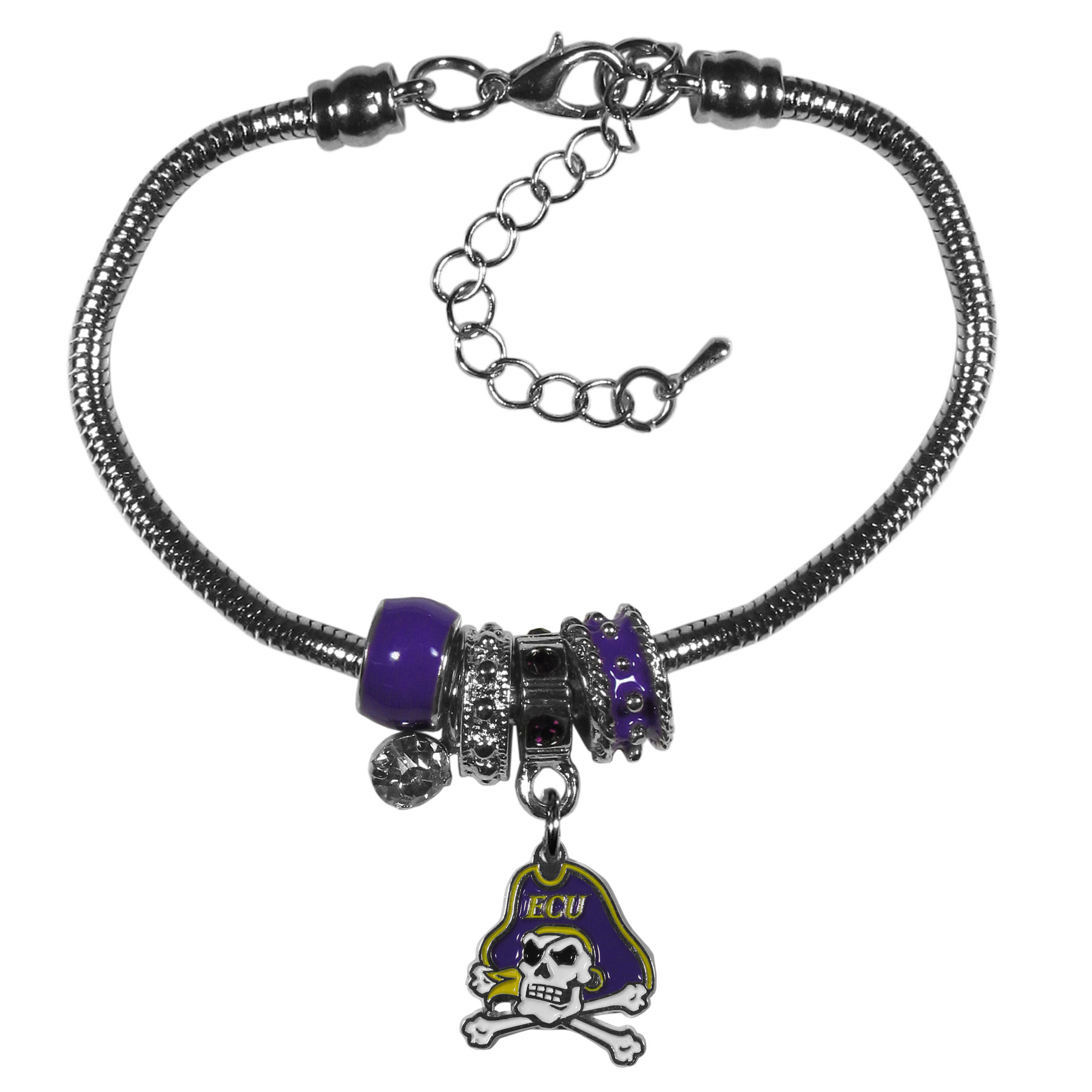 East Carolina Pirates Euro Bead Bracelet - We have combined the wildly popular Euro style beads with your favorite team to create our  East Carolina Pirates bead bracelet. The 7.5 inch snake chain with 2 inch extender features 4 Euro beads with enameled team colors and rhinestone accents with a high polish, nickel free charm and rhinestone charm. Perfect way to show off your team pride.