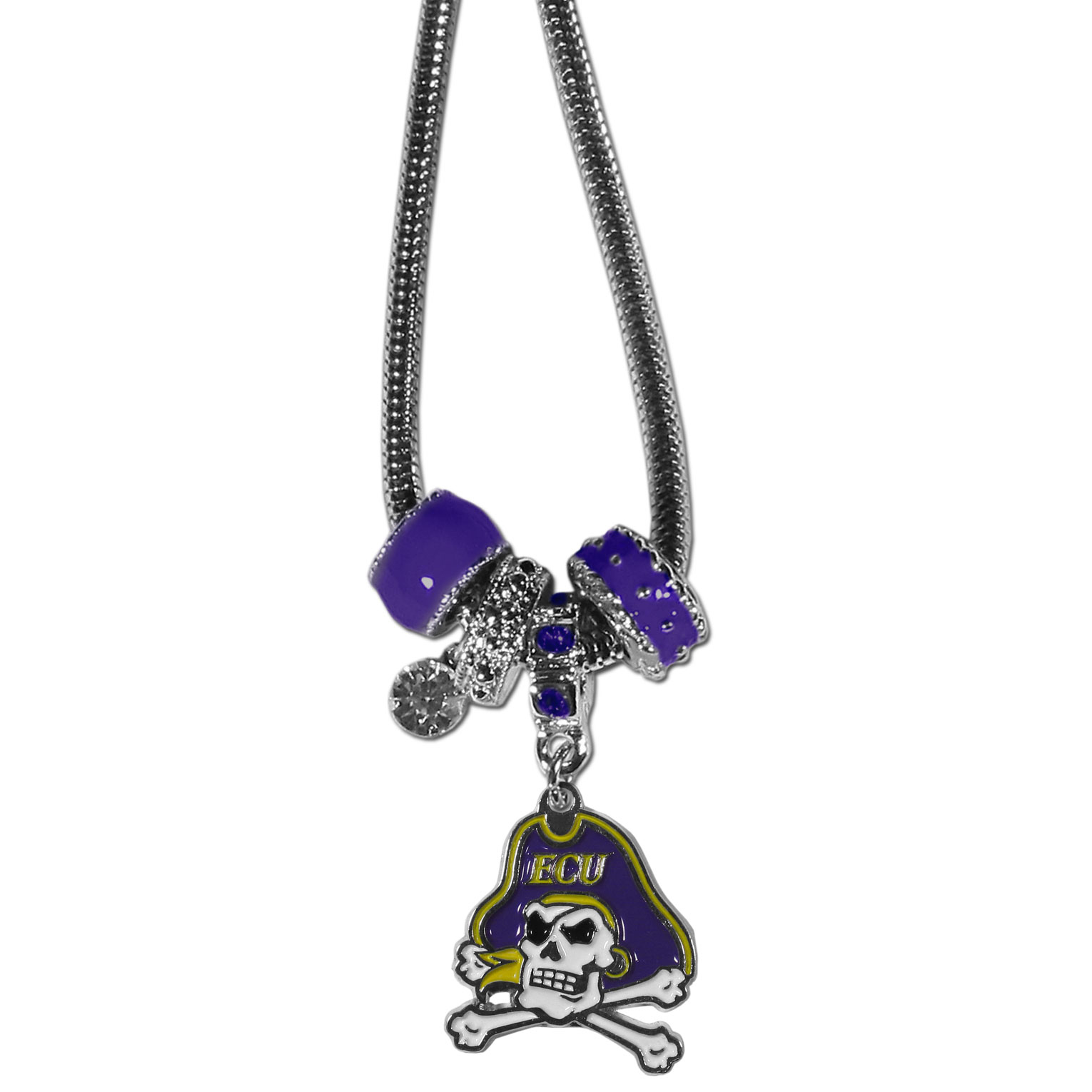 East Carolina Pirates Euro Bead Necklace - We have combined the wildly popular Euro style beads with your favorite team to create our East Carolina Pirates bead necklace. The 18 inch snake chain features 4 Euro beads with enameled team colors and rhinestone accents with a high polish, nickel free charm and rhinestone charm. Perfect way to show off your team pride.