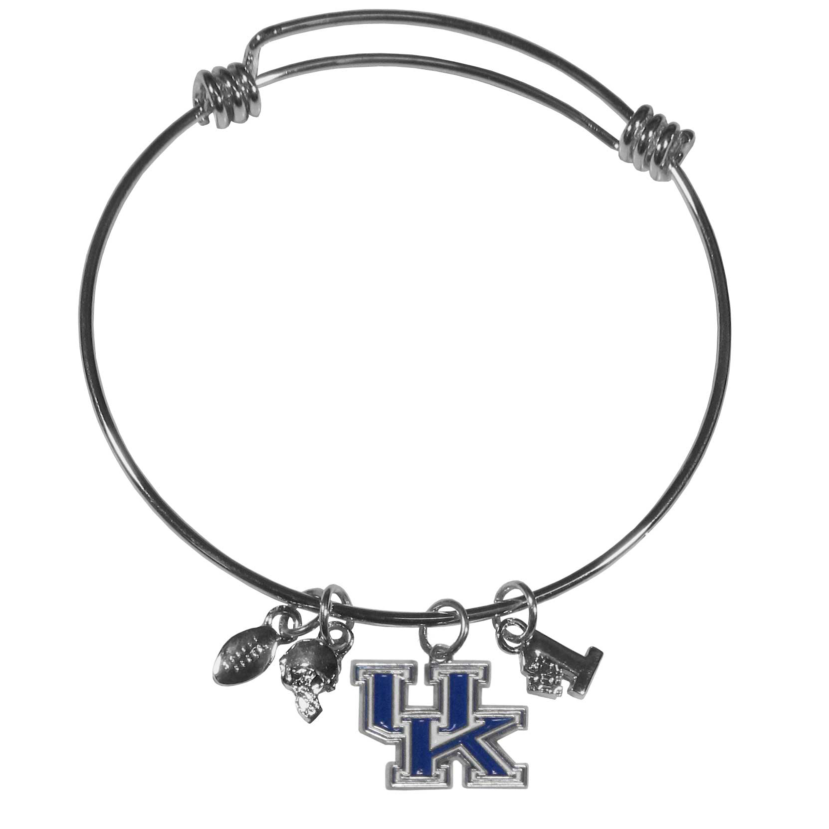 Kentucky Wildcats Charm Bangle Bracelet - Adjustable wire bracelets are all the rage and this Kentucky Wildcats bracelet matches the popular trend with your beloved team. The bracelet features 4 charms in total, each feature exceptional detail and the team charm has enameled team colors.