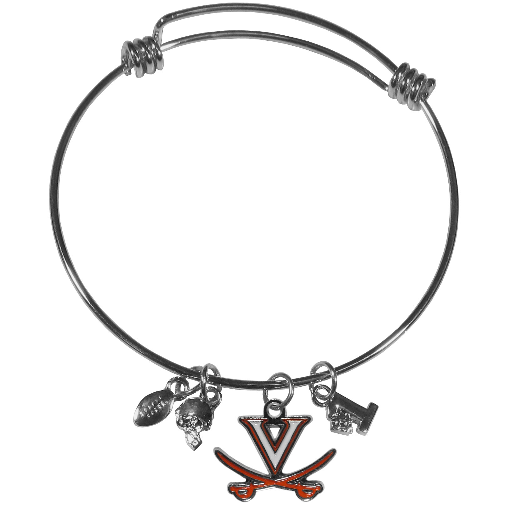 Virginia Cavaliers Charm Bangle Bracelet - Adjustable wire bracelets are all the rage and this Virginia Cavaliers bracelet matches the popular trend with your beloved team. The bracelet features 4 charms in total, each feature exceptional detail and the team charm has enameled team colors.