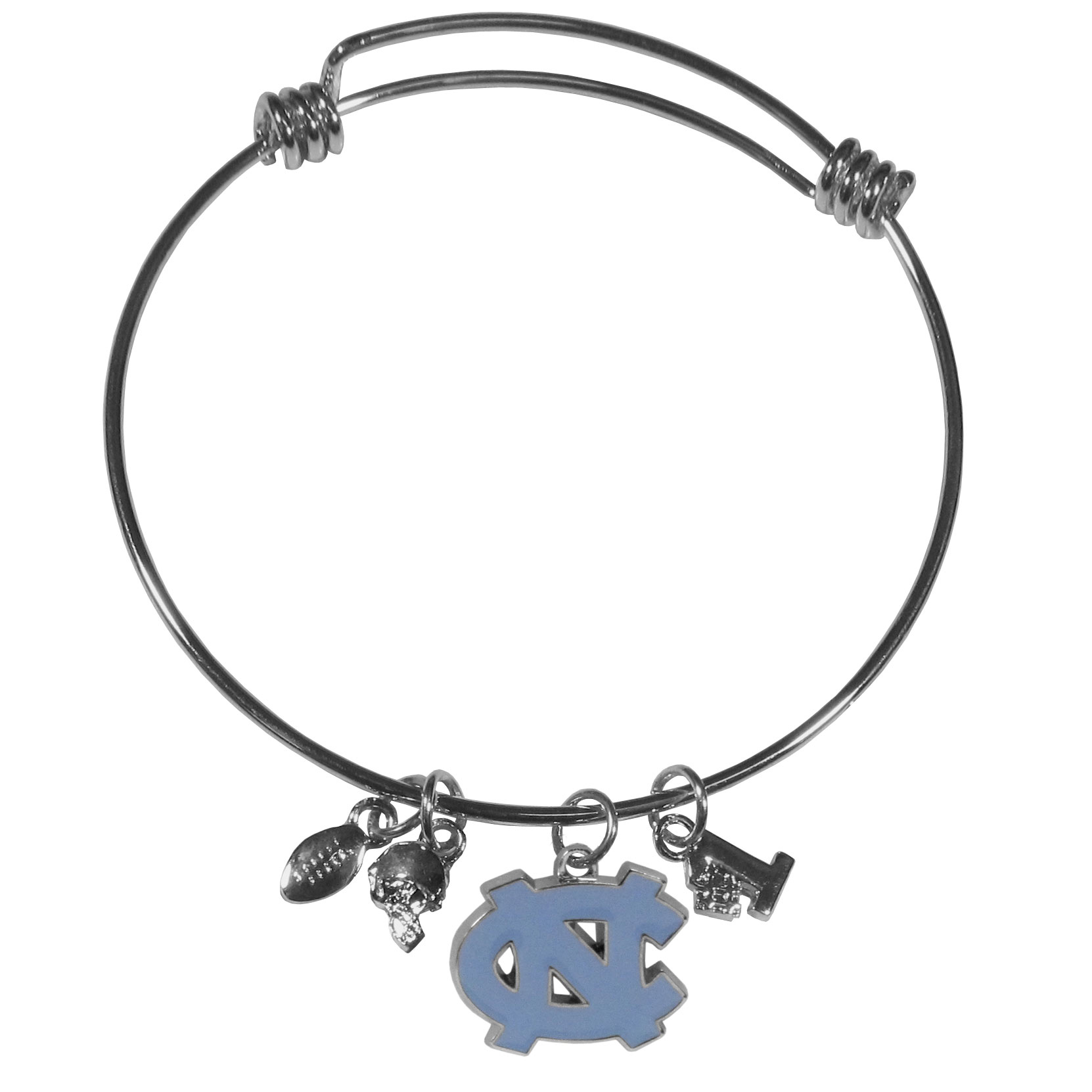 N. Carolina Tar Heels Charm Bangle Bracelet - Adjustable wire bracelets are all the rage and this N. Carolina Tar Heels bracelet matches the popular trend with your beloved team. The bracelet features 4 charms in total, each feature exceptional detail and the team charm has enameled team colors.