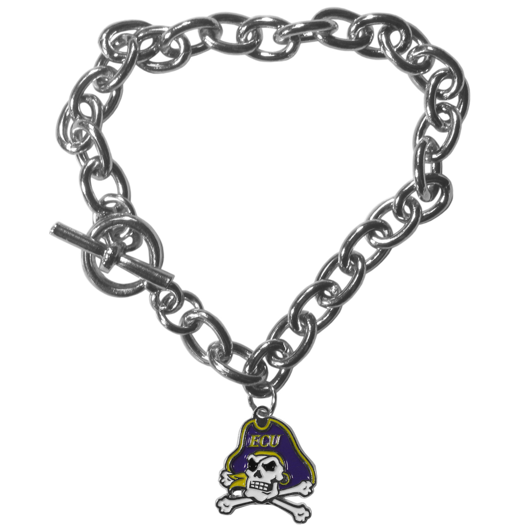 East Carolina Pirates Charm Chain Bracelet - Our classic single charm bracelet is a great way to show off your team pride! The 7.5 inch large link chain features a high polish East Carolina Pirates charm and features a toggle clasp which makes it super easy to take on and off.