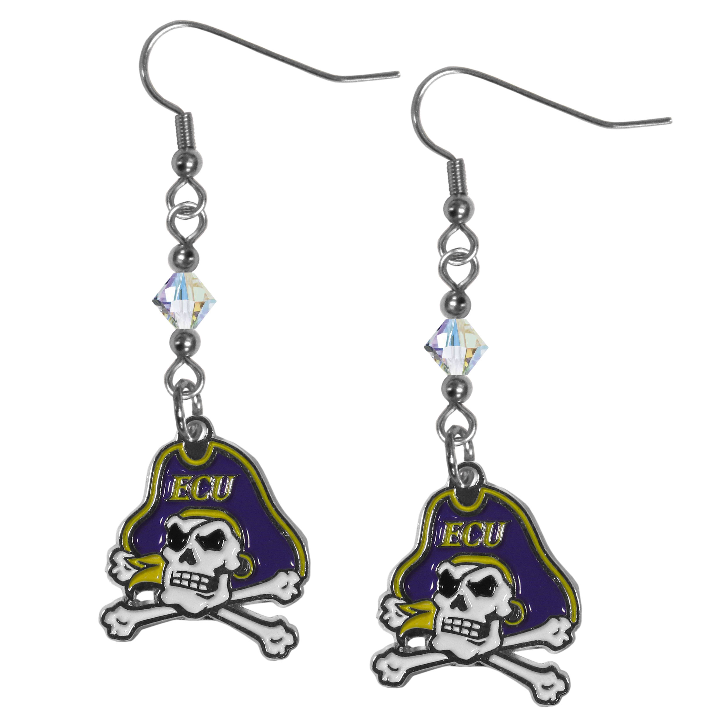 East Carolina Pirates Crystal Dangle Earrings - Our crystal dangle earrings are the perfect accessory for your game day outfit! The earrings are approximately 1.5 inches long and feature an iridescent crystal bead and nickel free chrome East Carolina Pirates charm on nickel free, hypoallergenic fishhook posts.