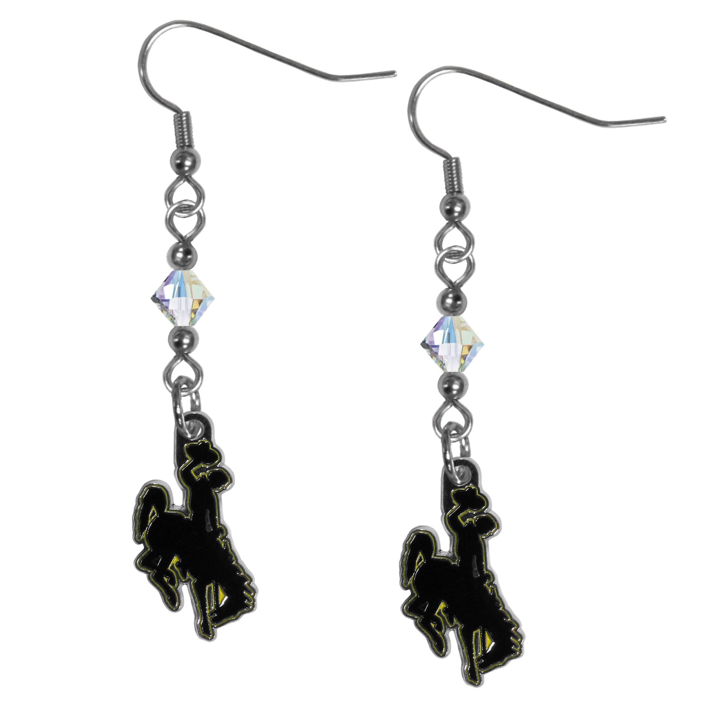 Wyoming Cowboys Crystal Dangle Earrings - Our crystal dangle earrings are the perfect accessory for your game day outfit! The earrings are approximately 1.5 inches long and feature an iridescent crystal bead and nickel free chrome Wyoming Cowboy charm on nickel free, hypoallergenic fishhook posts.