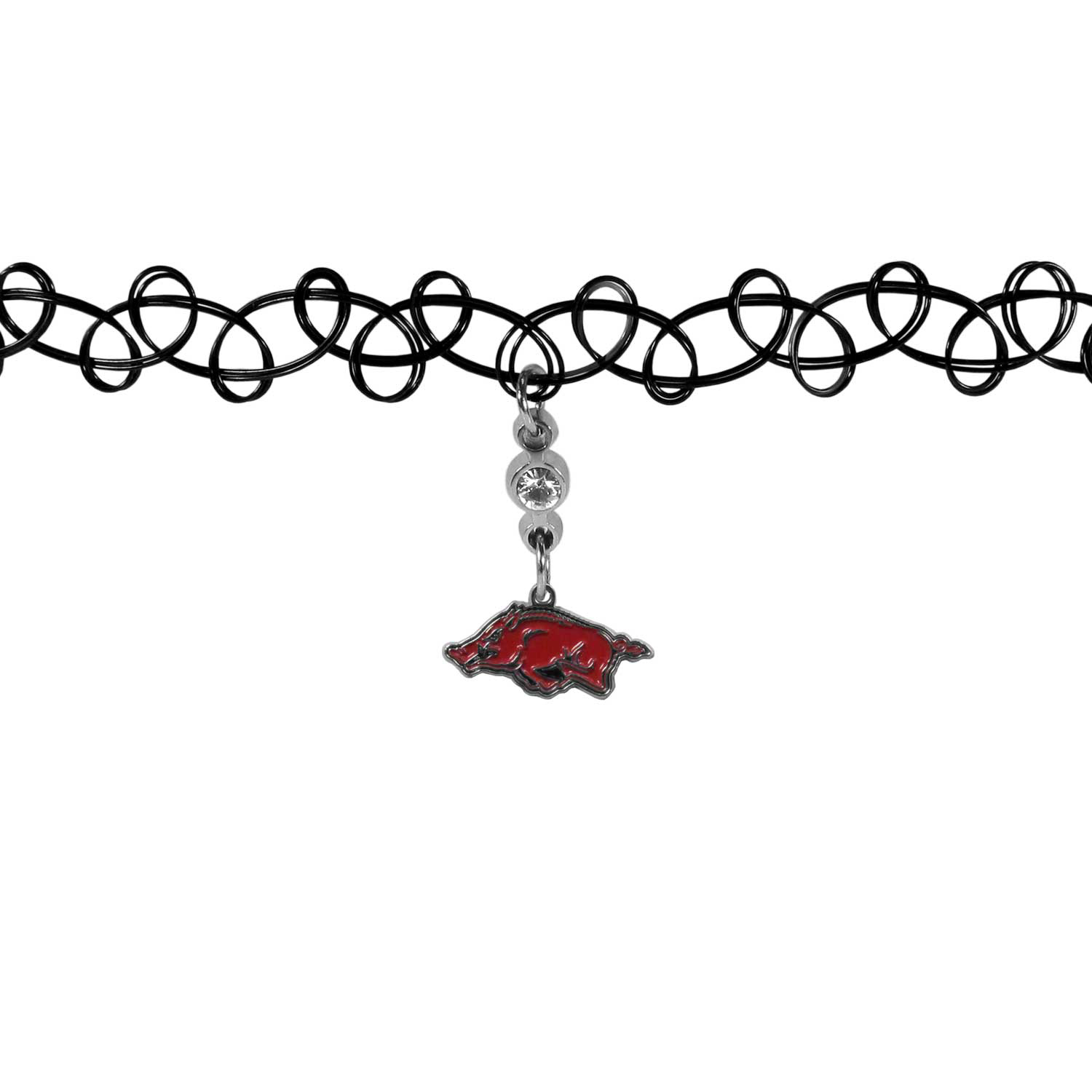 Arkansas Razorbacks Knotted Choker - This retro, knotted choker is a cool and unique piece of fan jewelry. The tattoo style choker features a high polish Arkansas Razorbacks charm with rhinestone accents.
