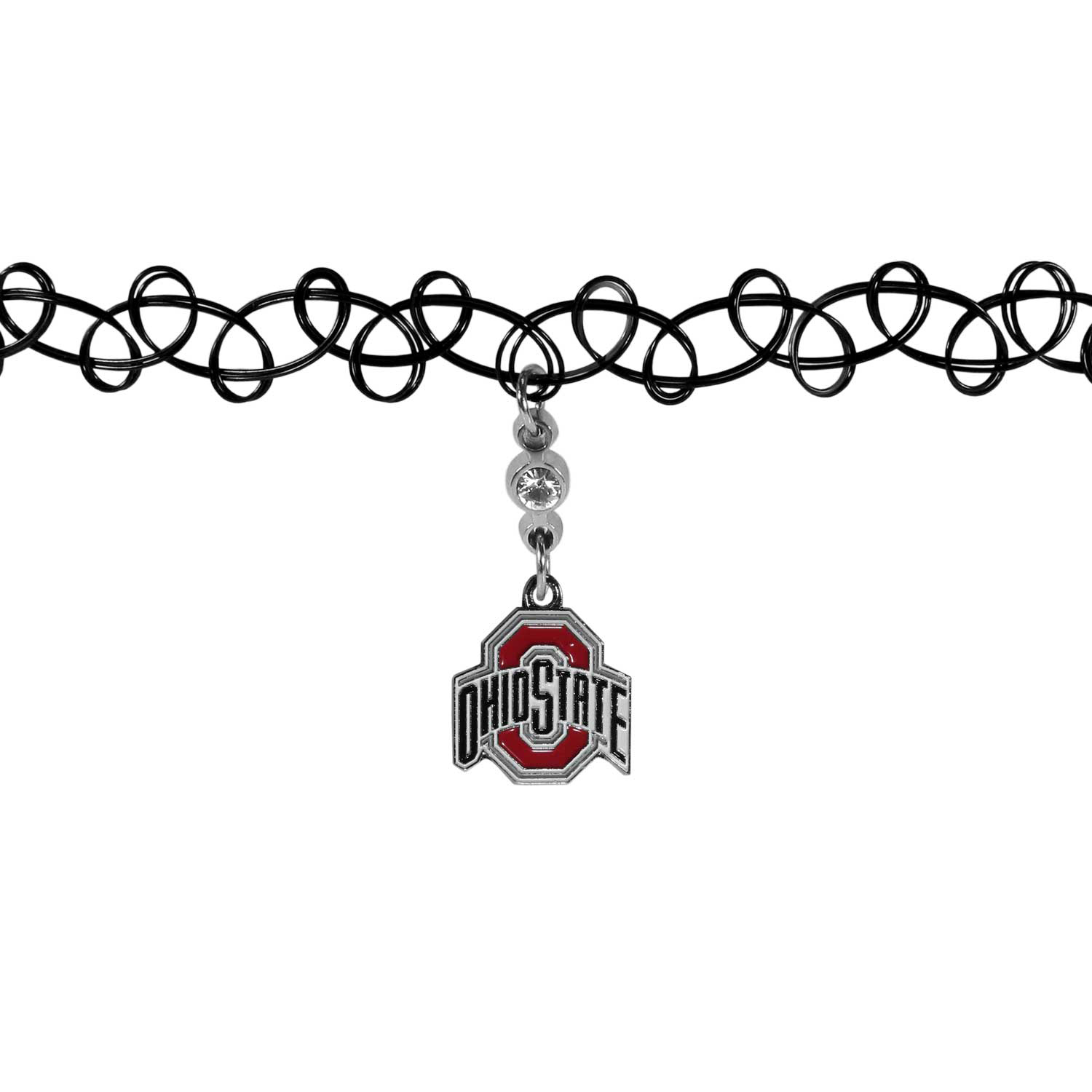 Ohio St. Buckeyes Knotted Choker - This retro, knotted choker is a cool and unique piece of fan jewelry. The tattoo style choker features a high polish Ohio St. Buckeyes charm with rhinestone accents.