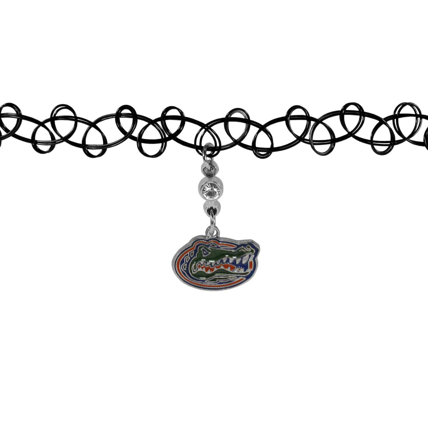 Florida Gators Knotted Choker - This retro, knotted choker is a cool and unique piece of fan jewelry. The tattoo style choker features a high polish Florida Gators charm with rhinestone accents.