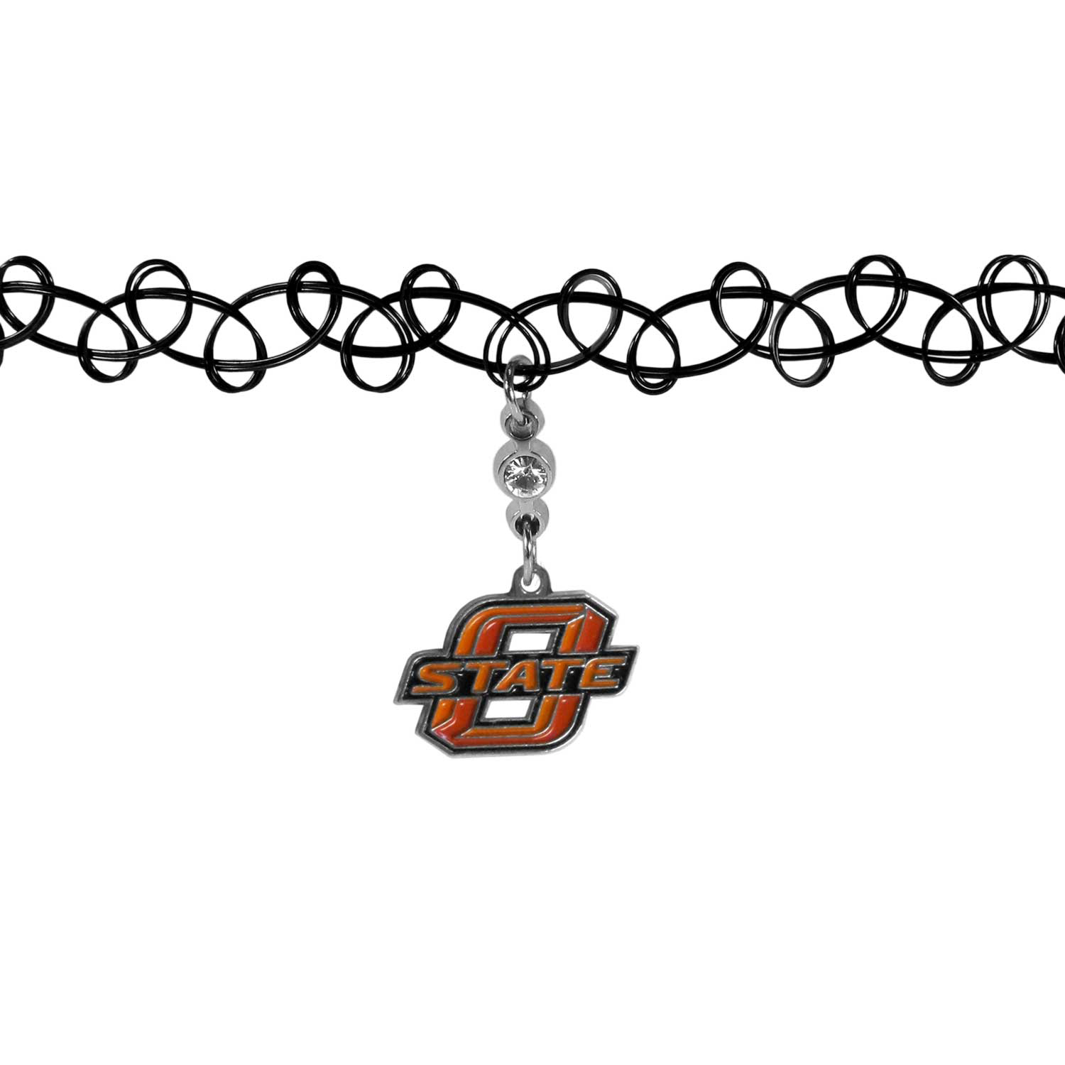 Oklahoma St. Cowboys Knotted Choker - This retro, knotted choker is a cool and unique piece of fan jewelry. The tattoo style choker features a high polish Oklahoma St. Cowboys charm with rhinestone accents.