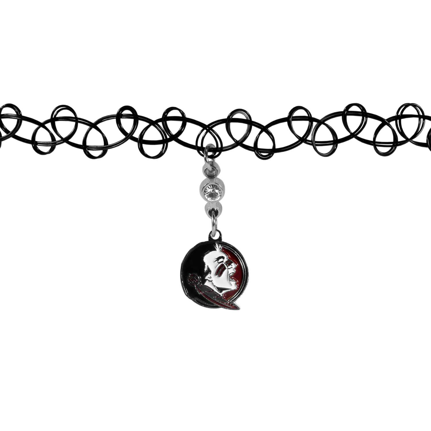 Florida St. Seminoles Knotted Choker - This retro, knotted choker is a cool and unique piece of fan jewelry. The tattoo style choker features a high polish Florida St. Seminoles charm with rhinestone accents.
